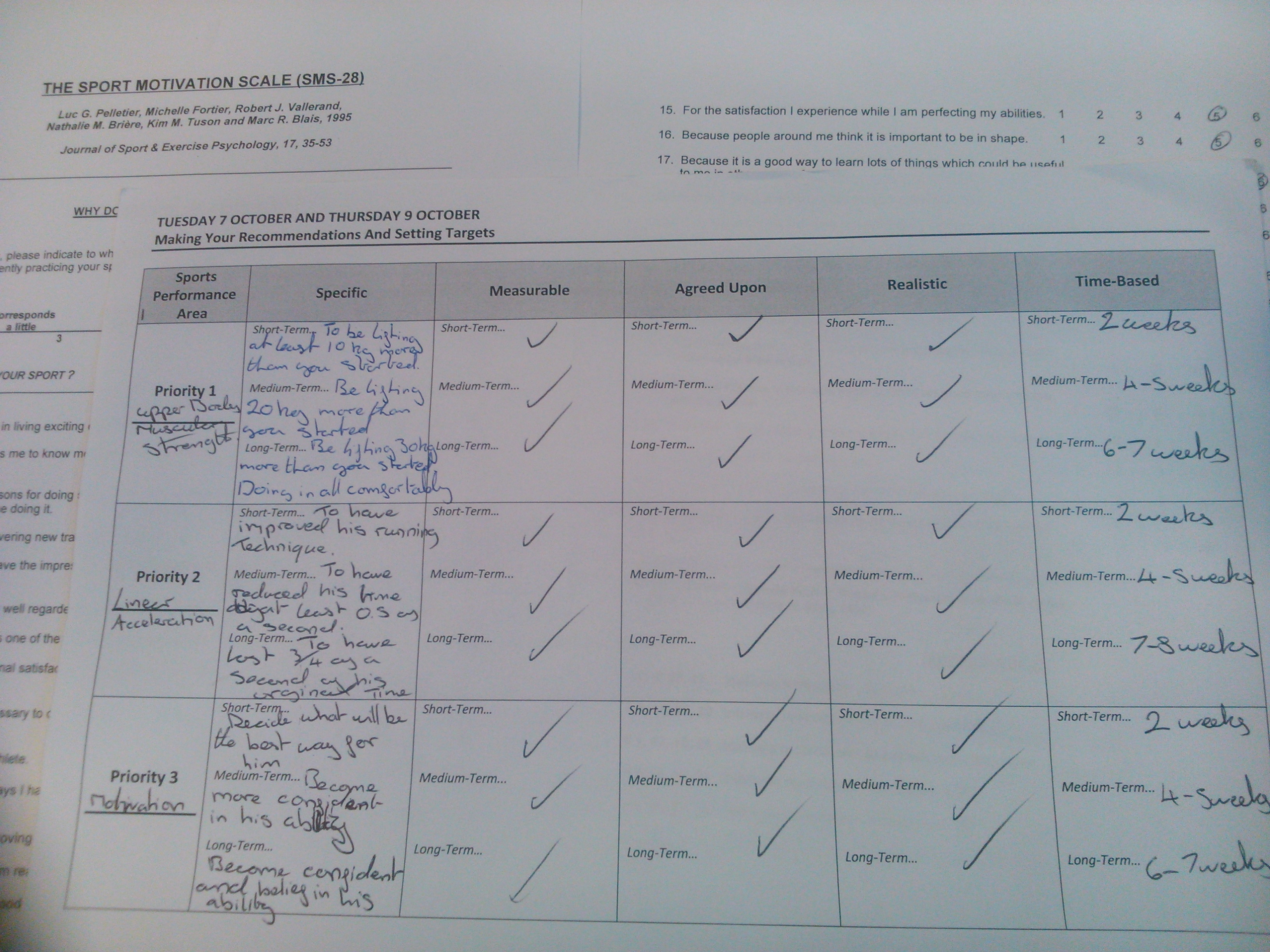 Sport science coursework