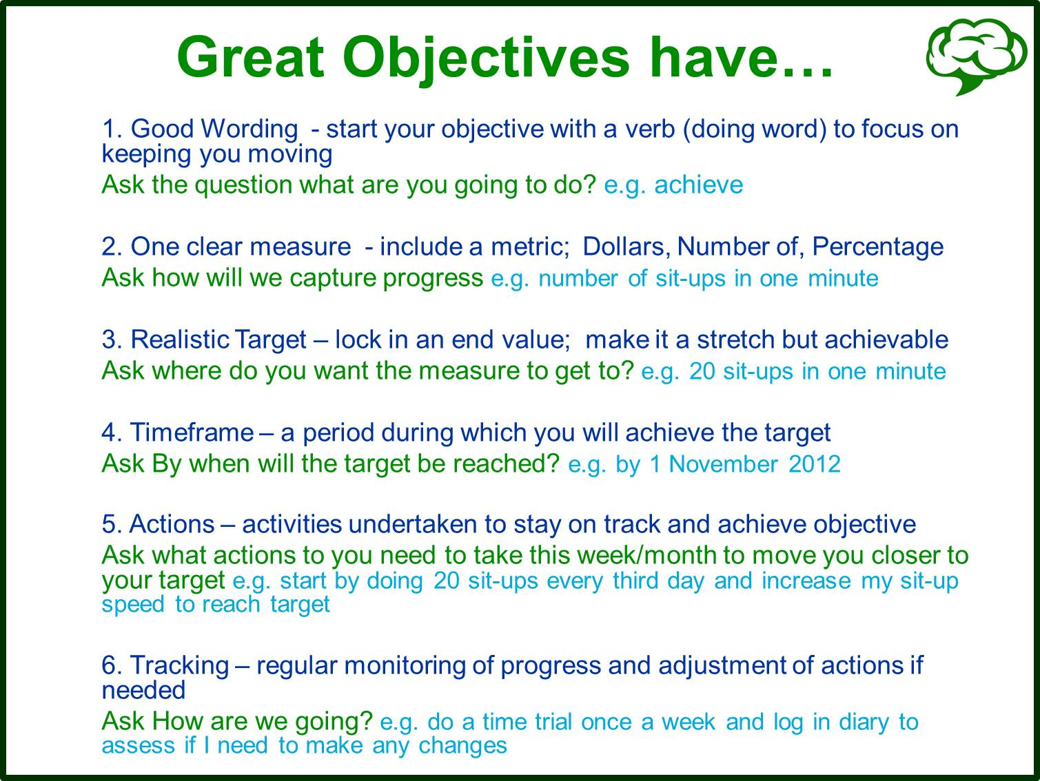 writing smart objectives Writing measurable objectives to write objectives that provide clear guidance to a good way to test your objectives is to use the smart technique.
